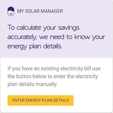 Solar Analytics Plan optimiser - Step 1 enter energy bill information